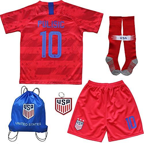 USA Soccer Team Christian Pulisic Carli Lloyd Alex Morgan Replica Kid Jersey Kit : Shirt, Short, Socks, Soccer Bag (2019 Christian Pulisic Red Kit, Size 24 (7-8 Yrs Old Approx.))