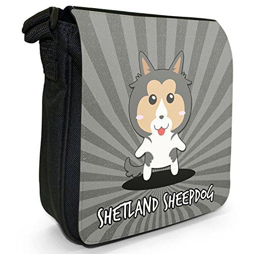 Bag Cartoon Small Black Size Shoulder Scottish Sheltie Shetland Canvas Dogs Sheepdog AnxYdTf