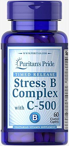 Puritan's Pride Stress Vitamin B-Complex with Vitamin C-500 Timed Release-60 Caplets (B-complex Caplet Vitamins)
