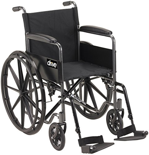 Drive Medical Silver Sport 1 Wheelchair with Full Arms and Swing Away Removable Footrest ()