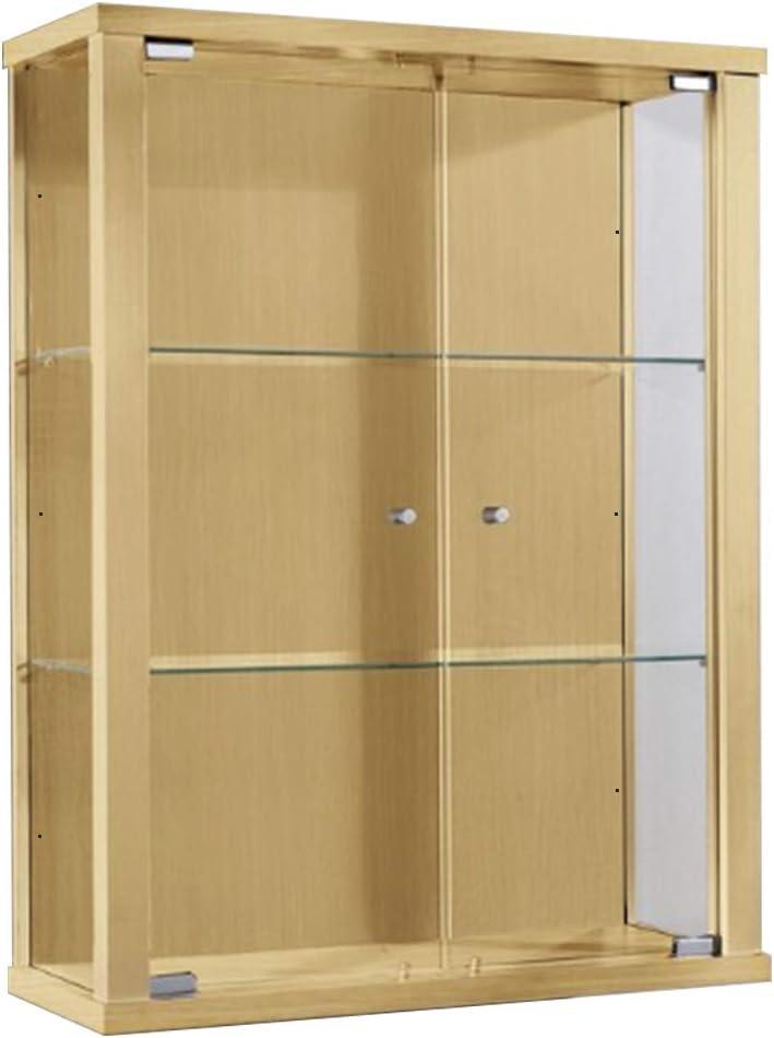 Vitrina Mueble de pared 80x60x25 cm haya con 2 estantes de vidrio