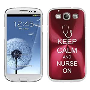 Rose Red Samsung Galaxy S III S3 Aluminum Plated Hard Back Case Cover K1226 Keep Calm and Nurse On Stethoscope