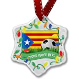 Personalized Name Christmas Ornament, Soccer Team Flag Catalonia region Spain NEONBLOND