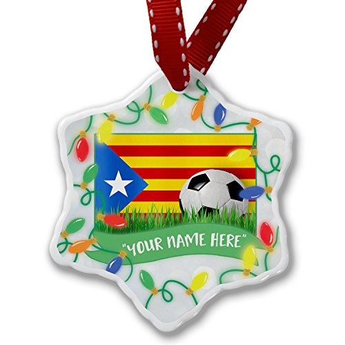 Personalized Name Christmas Ornament, Soccer Team Flag Catalonia region Spain NEONBLOND by NEONBLOND