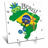 3dRose TNMGraphics Countries - Map of Brazil with Flag and Some Icons - 6x6 Desk Clock (dc_286293_1)