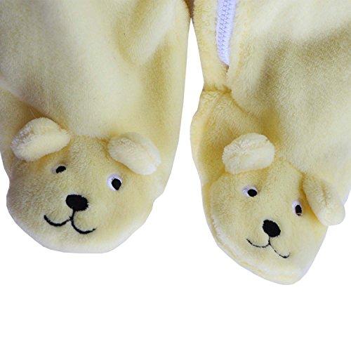 Baby Boys Boys Girls 3D Cartoon Bear Hooded Romper Warm Fleece Jumpsuit Outfits size 0-3Months/3 (Yellow)