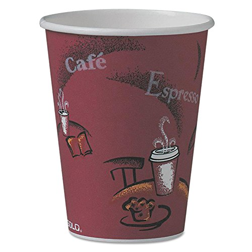 SOLO Cup Company 412SIN Bistro Design Hot Drink Cup, 12 oz. Capacity, Poly-Coated Paper, Maroon (Pack of 1000)