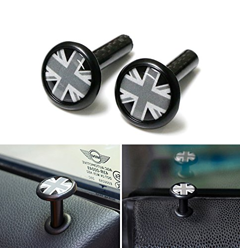 iJDMTOY (2) Genuine Carbon Fiber Black UK Union Jack Door Lock Pin Decor For MINI Cooper R55 R56 R57 R58 R59 R60 F54 F55 F56 F57, etc