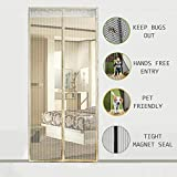Magnetic Screen Door - LAWOHO Heavy Duty Mesh Curtain with Full Frame Velcro and Powerful Magnets Snap Shut AutomMagnetic Screen Door - Heavatically Pet Friendly Anti Bug Insect Mosquito, Beige