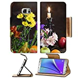 MSD Premium Samsung Galaxy Note 5 Flip Pu Leather Wallet Case Note5 IMAGE ID: 27883850 close up elegant still life of various ripe fruits and delicate flowers on a dark background studio