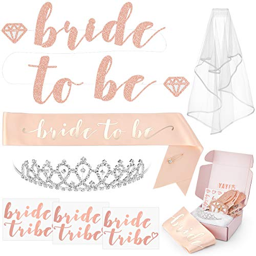 xo, Fetti Rose Gold Pink Bachelorette Party Decorations Kit - Bridal Shower Supplies | Bride to Be Sash, Rhinestone Tiara, Pre-Strung Banner, Veil + Bride Tribe Tattoos