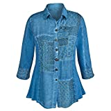 CATALOG CLASSICS Women's Tunic Top - Chambray Denim Button Down Shirt - 3X