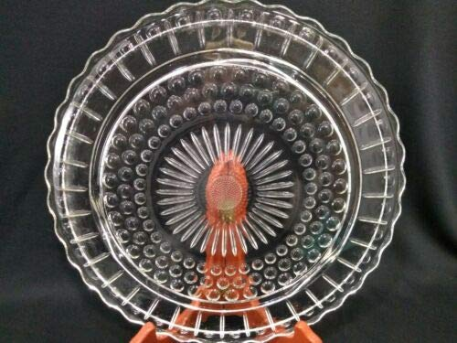 (Glass Winchester Bubble Dot Sunflower Cake Platter 1940's Measures 11. 5