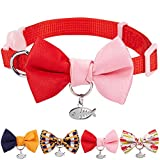 "Blueberry Pet Pack of 1 Timeless Scarlet Red & Pink Breakaway Handmade Bow Tie Cat Collar with European Crystal Bead on Fish Charm, Adjustable Collars for Girl, Neck 9""-13"", Bow 2.4"" * 2"""