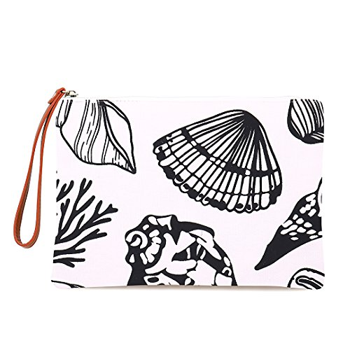 Seven Island Women Leather Canvas Cute Tropical Pineapple Print Unisex Portable Travel Evening Cosmetic Makeup Zipper Purse Wrist Pouch Clutch Wallet Handbag Bag (Seashells)
