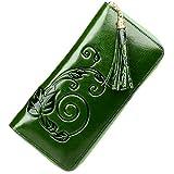 PIJUSHI Designer Floral Wallet Clutch Handmade Genuine Leather Purse Card Holder 91866 (one size, green)