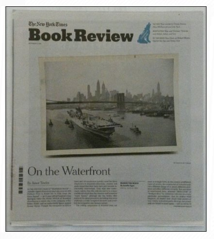 Book cover from The New York Times Book Review - October 8, 2017 - On the Waterfront by Amor Towles