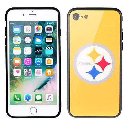 Sportula NFL Phone Case - 9H Tempered Glass Back Cover and Silicone Rubber Bumper Frame Compatible Apple iPhone 8 / iPhone 7 (Pittsburgh Steelers) ()