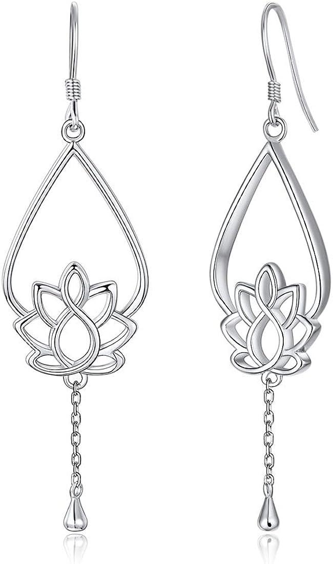 Flor Loto Plata de Ley 925 Pendientes Hipoalergénicos para Mujeres Colgantes Largos Joyería Moderna Accesorio Decorativo de Orejas de Regalo Romántico