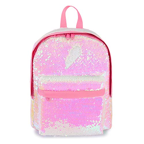 Girls Mini Glitter Backpack Sparkly Magic Mermaid Small Sequins Bookbags (Pink)