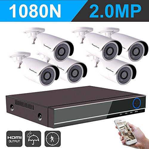 IHOMEGUARD 1080N Video Home Security Camera System with 6PCS FULLHD 1080P 1920TVL 2.0MP Outdoor CCTV Weatherproof Cameras with 8 Channel AHD DVR Video Surveillance Kit no Hard Drive,Motion Detection Pentaplex Digital Video