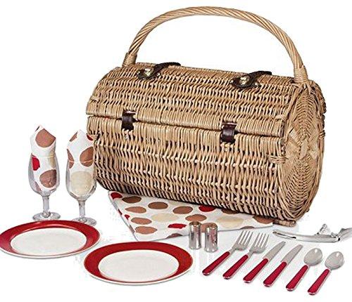 Picnic Time Barrel Picnic Basket with Service for 2, Moka by Picnic Time - Barrel Willow Picnic Basket