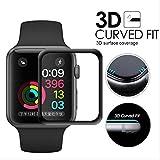 Maxipro® Protection d'écran en verre trempé ultra fin pour Apple Watch Série 3 Deisgn 3D courbé 42mm et 38mm Pas de perte du toucher
