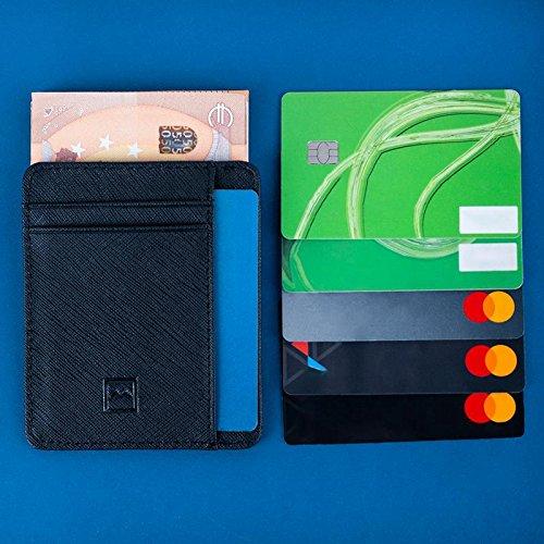 456b4141460ae Mercor Premium Brieftasche flach für Herren mit RFID Schutz - Sicheres  Kreditkarten - Etui aus PU