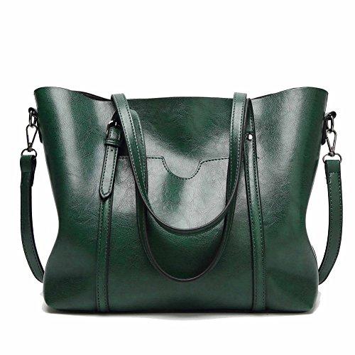 AgooLar Women's Compras Casual Bolsos Cruzados Cremalleras Bolsas de Mano Verde