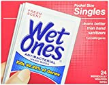 Wet Cleansing Facial Wipes - Wet Ones Antibacterial Hand and Face Wipes Singles, 24-Count (Pack of 5)