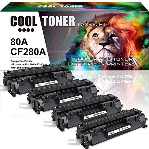 Cool Toner Compatible Toner Cartridge Replacement for HP 80A CF280A 80X CF280X for HP Laserjet Pro 400 M401A M401D M401N M401DN M401DNE M401DW, Laserjet Pro 400 MFP M425DN Laser Ink Printer Black-4PK (Hp 80a Black Original Laserjet Toner Cartridge)