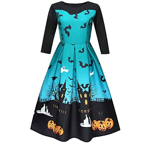 YOCheerful Swing Dress Women Halloween Printing Mini Dress Three Quarter Casual Evening Party Prom A-Line Dress Blue