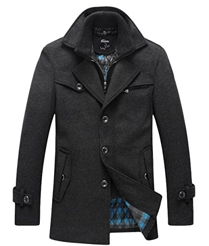 Wantdo Men's Warm Pea Coat Windproof Thick Winter Jacket with Quilted Bib
