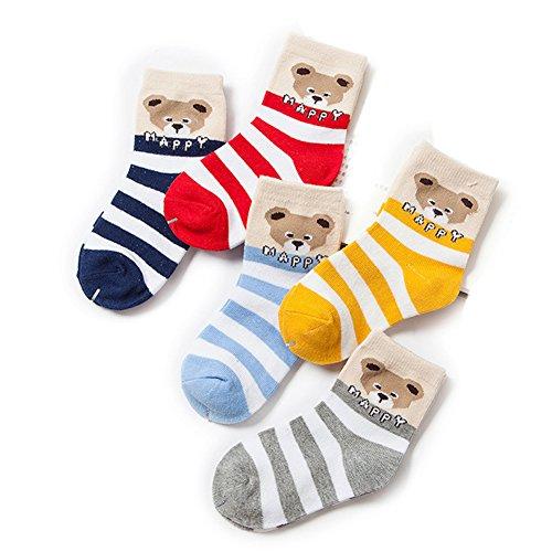 Price comparison product image VWU Little Girls Boys Cute Cartoon Socks Cotton Ankle Socks 1-10Y 8 Style (3-5 years old, Happy bear)