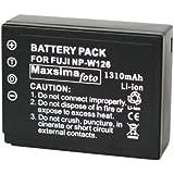 Maxsima - NP-W126, batería completamente compatible, 1310mAh, para Fujifilm X-Pro1 encaja, X-E1, FinePix HS50EXR, HS30EXR, HS33EXR, W126 FUJI. NPW126, XPRO1.