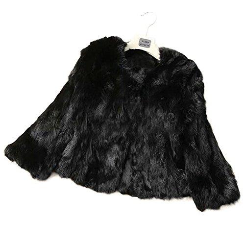 Manka Vesa Natural Real Rabbit Fur Women Winter Thick Jackets 3/4 Sleeve Black (Genuine Fur Rabbit Coat 3/4)