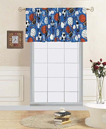 (Decotex 1 Piece Sports Athlete Kids Window Valance 55