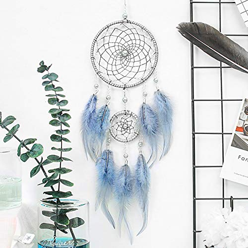 MHSH Dream Catchers Handmade Traditional Blue Feather Wall Hanging Home Decor Small Dream Catchers for Bedroom Kids Car Baby(Dia 4.33 Length 18.11)