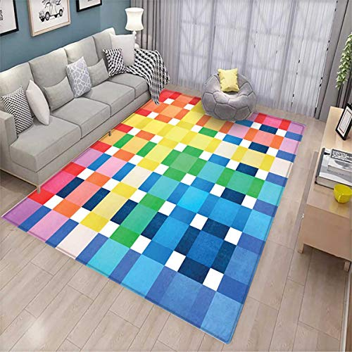 Beetle Pet Sofa - Checkered Room Home Bedroom Carpet Floor Mat Rainbow Colors Contiguous Big and Small Squares in Watercolor Style Geometrical Floor Mat Pattern Multicolor