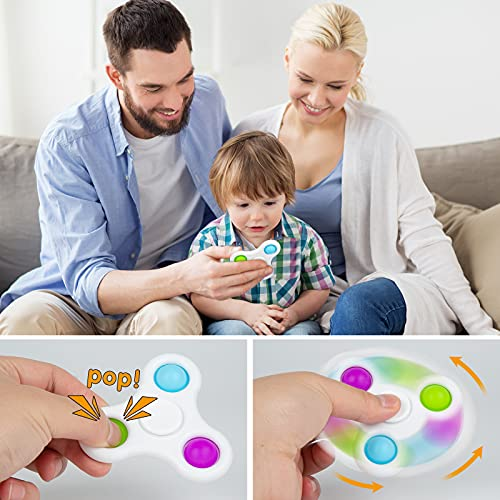 Magicalmai 4pcs Fidget Spinners Simple Dimple, 2 in 1 Popping Fidget Toys Sensory Therapy Popper Portable Stress Relief Hand Toys for Kids and Adults in Office Home School