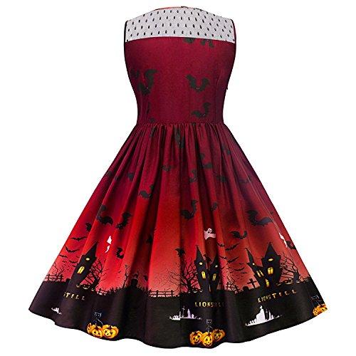 dextrad Beautiful Women's Vintage Halloween Print Lace Panel Dress Retro Rockabilly A Line Dresses Wine RedXX-Large -