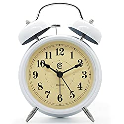 JCC 4 Decorative Vintage Twin Bell Non Ticking Sweep Second Hand Arabic Numerals Quartz Alarm Clock with Nightlight and Loud Alarm (White)