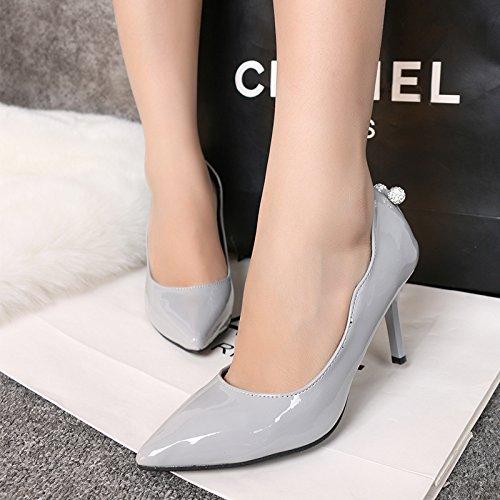 El agua la punta de la broca de la versión coreana de los zapatos de tacón alto y un ambiente elegante con fino trabajo de Ol zapatos zapatos de boda roja Gray