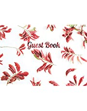 Guest Book For Wedding Red: Guest Book For Wedding Unlined. Red Leaves Photo Art Print.