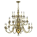Burnished Brass 25lt Chandelier - 25 x 40W E14 by Happy Homeware