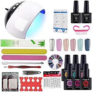 COSCELIA 24W LED lamp Nail Dryer UV Primer Top Coat 6 Colors Soak Off Nail Starter Kit Gel Nail Polish 10ml