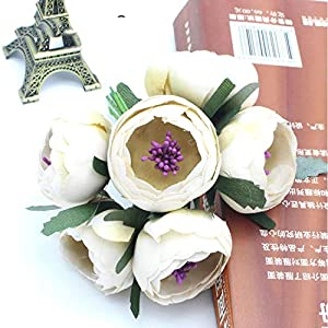 GSD2FF 6ps/lot Diameter 45mm Silk Artificial Flower Bouquet Mini Flowers for Wedding Party Decoration,Beige 85