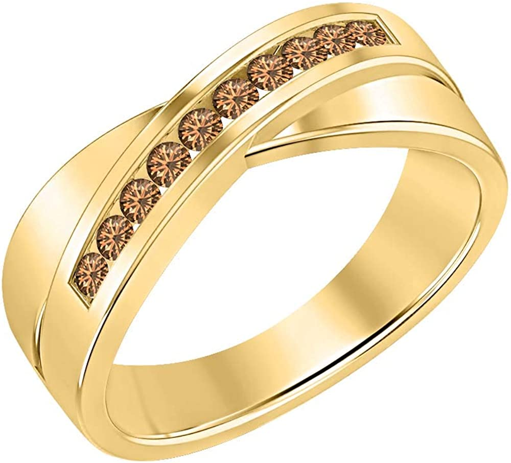 SVC-JEWELS 14K Yellow Gold Over 925 Sterling Silver Round Cut Brown Smoky Quartz Criss Cross X Wedding Band Ring Men