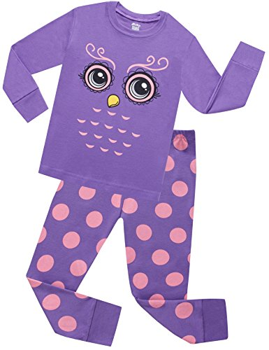 Sheliy-Children Owl Pajamas For Girls Toddler Sleepwear Children Cotton Christmas PJs Pants Set Size 7 Years by Sheliy-Children