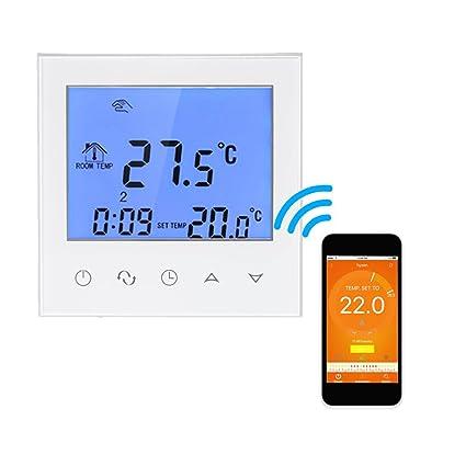 Onepeak Termostato de calefacción eléctrica con pantalla táctil Controlador de temperatura programable inteligente de WIFI con